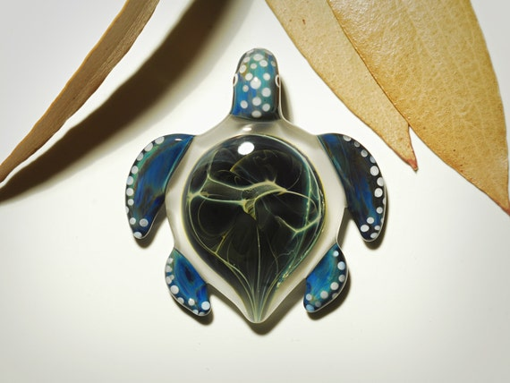 Blue Treasure Turtle Pendant - Glass Pendant - Glass Jewelry - Glass Art - Turtle - Blown Glass - Artist Signed - Details of Pure Silver