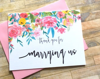 Thank You For Marrying Us, Officiant, Priest, Rabbi, Wedding Planner Thank You Card, Watercolor Wedding Thank You Card - WILDFLOWERS