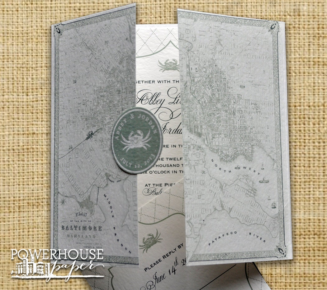 Baltimore Vintage Map Wedding Invitation DIY We