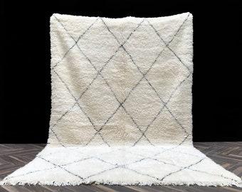 SOFT Moroccan rug 6x10 - Beni Ourain rug - Fluffy Beniourain carpet - Handmade wool rug - Morocco rug - Area rug - White rug Beni Berber rug