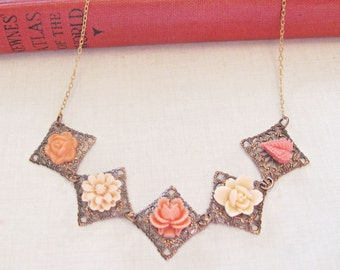 Boho Botanical Jewelry - Necklace Orange Flower Floral - Bohemian Ombre Vintage Copper