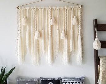"48"" Large macramé wall hanging/Large woven wall hanging/Yarn wall hanging/macramé wall hanging/Tassel wall hanging/large yarn tapestry"