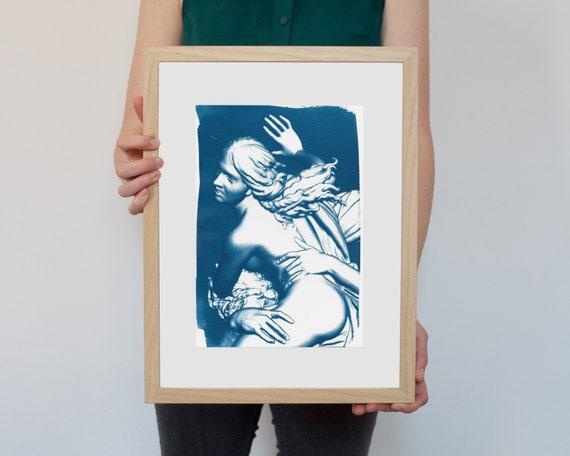 Greek Mythology, Bernini Rape of Prosepina Sculpture, Cyanotype Print on Watercolor Paper, A4 size