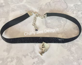 Mermaid Choker, Mermaid Necklace, Mermaid Gift, Mermaid Accesories, Sparkly Black Choker, Shell Choker, Black Choker, Black Accessories