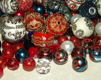 NEW Jesse James beads 30/pc Red, White, Blue 4th of July MIXED Loose Assorted Random picked Bag lot