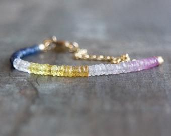 Sapphire Bracelet, Gemstone Bracelet, Rainbow Multi Sapphire Bracelet, Gift for Wife, Sapphire Jewelry, September Birthstone, Gift for Her