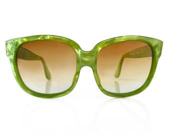 EMMANUELLE KHAHN Vintage Green Oversized Sunglasses 1970s/1980s