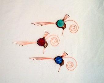 Handmade Hummingbird, window decoration, Copper, Glass, Hostess Gift,