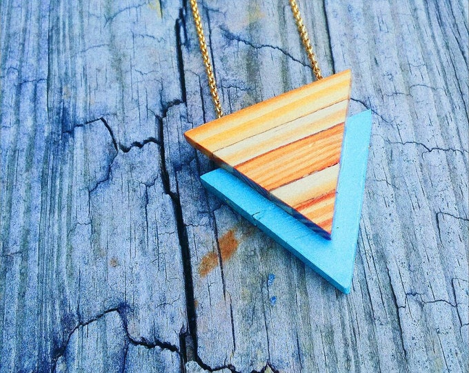 Necklace - Statement -  Reclaimed Wood - Stainless Steel - ART DECO