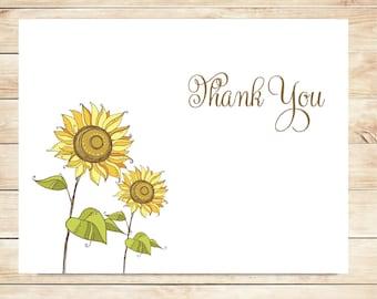 Sunflower Thank You Cards - Sunflower Stationery - Custom Sunflower Stationary