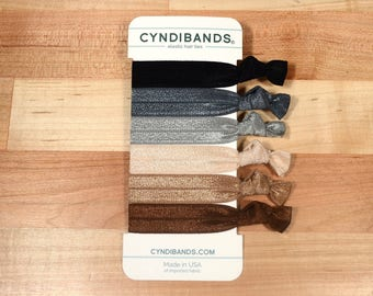 Cyndibands Creasless Knotted Hair Ties - Classic Neutrals 6 Ponytail Holders