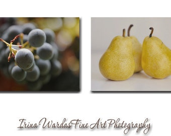 Dining room wall art canvas fruit prints, yellow black brown kitchen wall decor, cafe kitchen wall art set, modern kitchen art, food gift