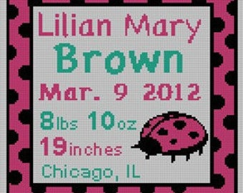 Pink Ladybug Birth Announcement Needlepoint Pillow Canvas