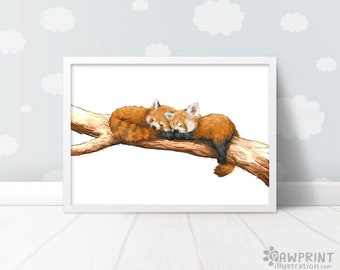 Twin Red Panda nursery animal art prints - Red Panda baby shower gift,  Nursery animal art red panda gift, red panda print baby shower gift