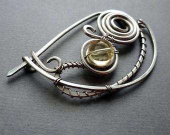 Silver Shawl pin, Scarf pin celtic sweater pin or shawl clasp yellow - wire wrapped brooch German silver, closure  shawl clasp, fibula