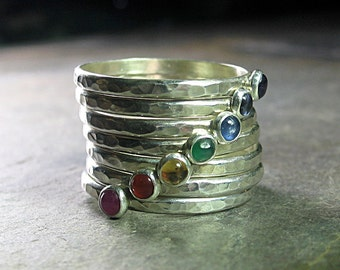 chakra ring yoga jewelry 7 chakras stacking rings sterling silver hammered metalsmith gemstone rings - Seven Chakras