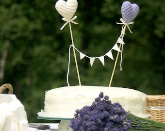 Wedding Cake Topper - Crochet Hearts cake topper - Summer Wedding party's decoration - Lavender/ivory Wedding table decor