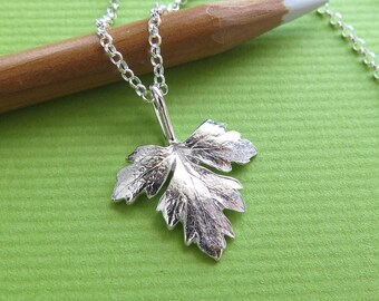 Italian Parsley Leaf Jewelry - Pure Silver Real Leaf Pendant, Herb Jewelry