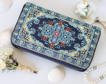 Unique  Wallet with Zipper, Turkish Tapestry Wallet, Gift For Her, Kilim Motif Wallet