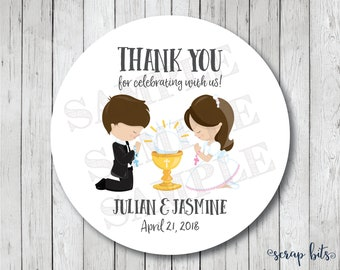 Twin First Communion Stickers, Personalized First Holy Communion Tags, Communion Favor Tags or Labels, Communion Thank You Stickers