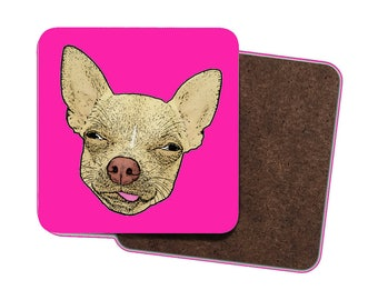 4 x Funny Chihuahua Drinks Coasters! Cute Chihuahua Cartoon with Tongue Sticking Out! Chihuahua, Dogs, Pets, Animals, Quirky Art & Gifts