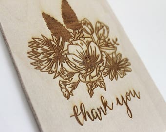 Thank You Cards, Thanksgiving Table Decor, Thank You Gift, Wood Card, Floral Decor, Thanksgiving gift, Thank You Cards Wedding, Hostess Gift