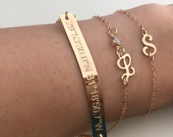 Engraved Bracelet, Gold Bar Bracelet, Name Plate bracelet Bridesmaid Jewelry Initial Bracelet, Gold Fill Rose Sterling Silver, Personalized