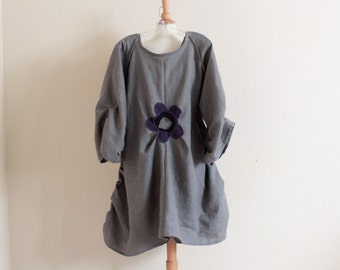 custom plus size flower fold gray linen dress / plus size clothing / linen party dress / every day comfy linen tunic dress