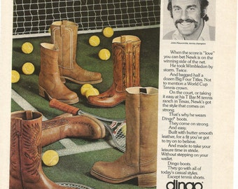 1975  Advertisement John Newcombe Dingo Boots Tennis Champion Net Balls Cowboy Boots Footwear Style Celebrity Fashion 70s Wall Art Decor