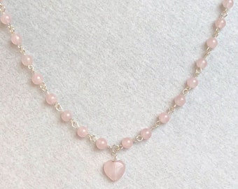 Rose Quartz and Sterling Silver Sweetheart Necklace