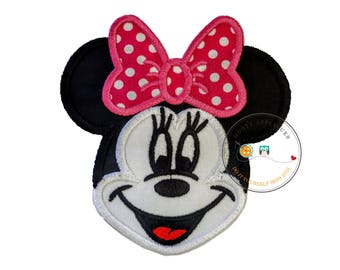 Large girl mouse head black and white with pink bow- iron embroidered fabric applique patch embellishment- ready to ship