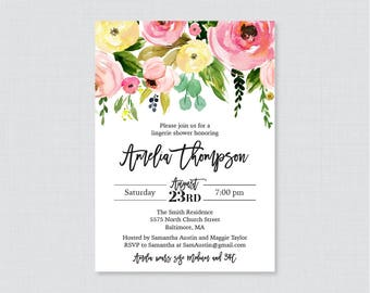 Pink and Yellow Floral Lingerie Shower Invitation Printable or Printed - Modern Flower Lingerie Shower Invites - Bachelorette Party 0031-A