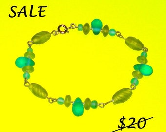 ON SALE - Good Enough to Eat Candy Coloured - Wire Wrapped Glass Beaded Bracelet - CLEARANCE