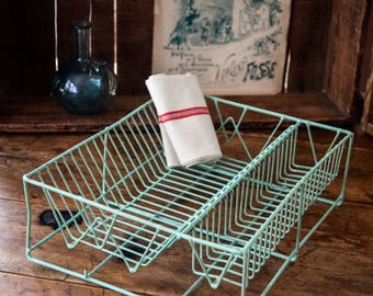 Vintage French Drying Rack - Pastel Light Green Color - With Vintage  Tea Towel
