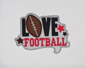 """Embroidered Iron On Applique-""""Love Football"""""""