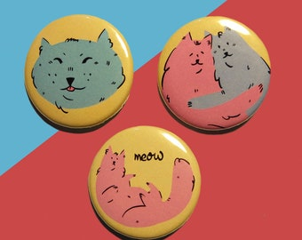 Set of 3 Pastel Cat Badges