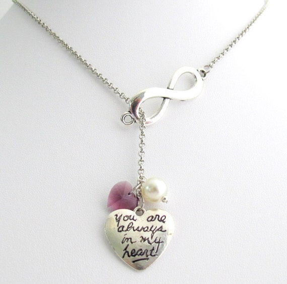 Infinity Necklace Amethyst Heart Necklace You Are In My Heart Pendant Necklace :Personalize Your Heart Free Shipping In USA