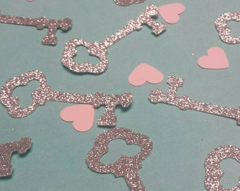Silver Gold or Black Glitter skeleton key hearts confetti You choose colors! Table decor Wedding Bridal shower Birthday Party