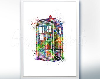 Tardis Doctor Who Watercolor Art Poster Print - Wall Decor - Watercolor Painting - Illustration - Home Decor - Kids Decor - Nursery Decor