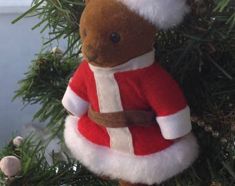 Vintage Flocked Teddy Bear Santa Christmas Tree Ornament
