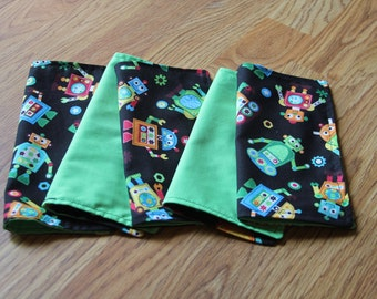 FIVE Cloth Napkins--Kid Size--Black Background Robots with Green