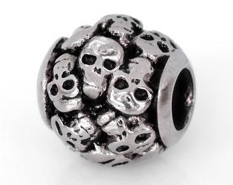 Stainless Steel Skull Bead Skull Charm Perfect For Halloween Fits European Charm Bracelets