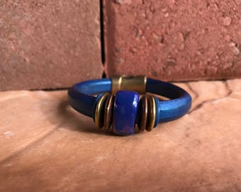 Leather bracelet, Women's bracelet, Magnetic closure bracelet, Electric blue bracelet,