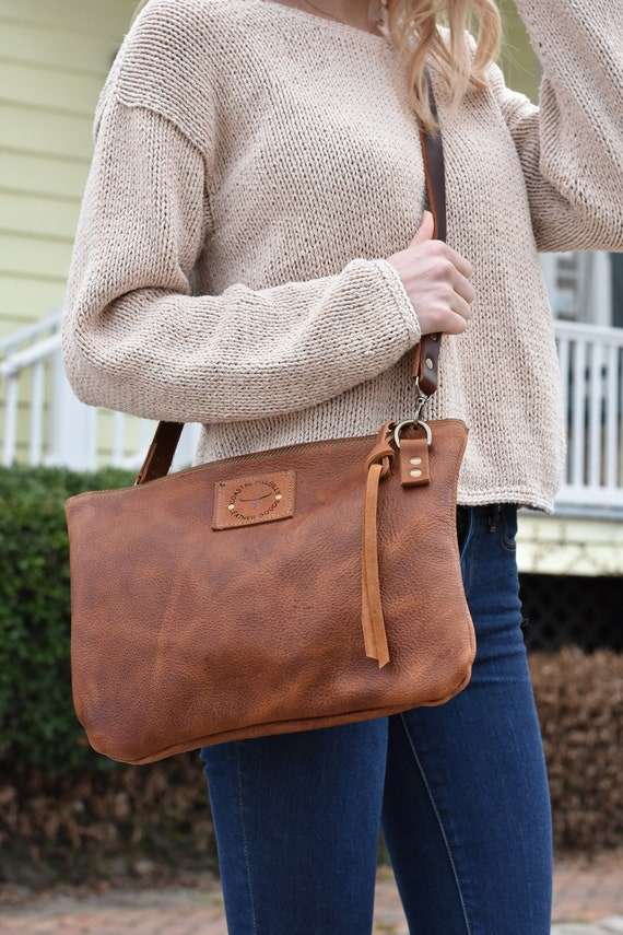 Distressed Leather Cross-Body Bag