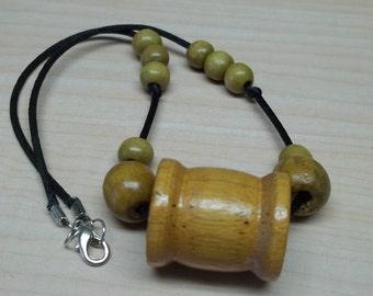 Vintage thread bobbin necklace,beige bobbin necklace,beige wood beads,beige wood bobin necklace.black satin cord,upcycled wood bobins