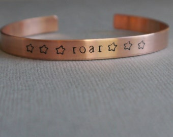 Roar cuff bracelet - hand stamped - mantra bracelets - feminist bracelet