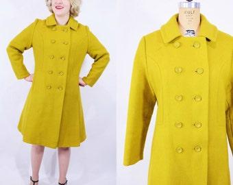 "1960s mod coat | citrine mod wool princess pea coat | vintage 60s coat | W 40"""