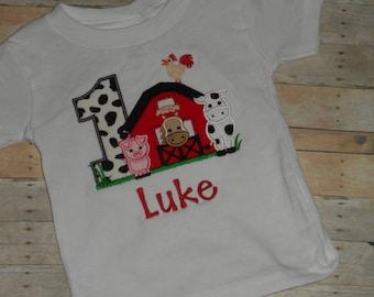 Infant Baby Toddler boys custom applique birthday shirt farm animal 2t 3t 4t 5t