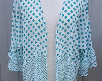 Teal Square Kimono Cardigan
