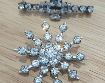 Two vintage sparkly brooches